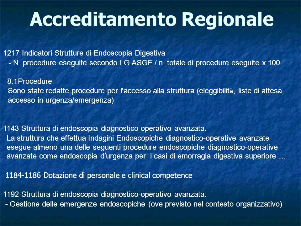 Accreditamento Regionale 1217 Indicatori Strutture di Endoscopia Digestiva - N.