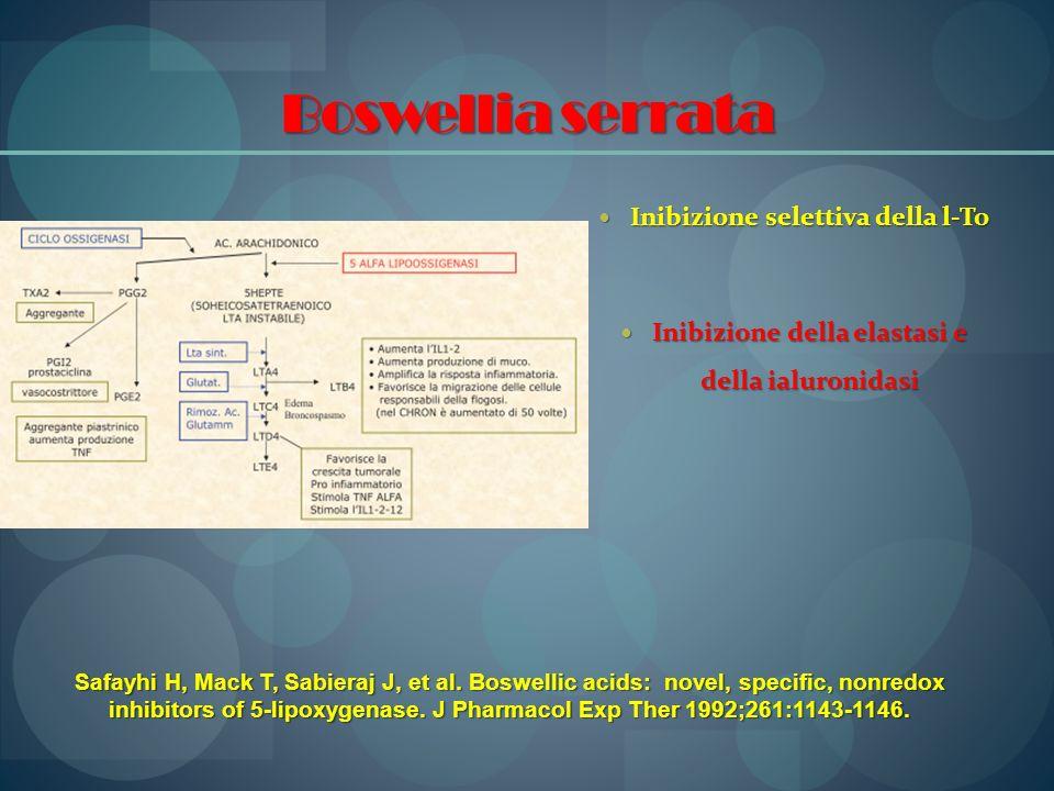 Boswellia serrata Inibizione selettiva della l-To Inibizione selettiva della l-To Inibizione della elastasi e della ialuronidasi Inibizione della elas