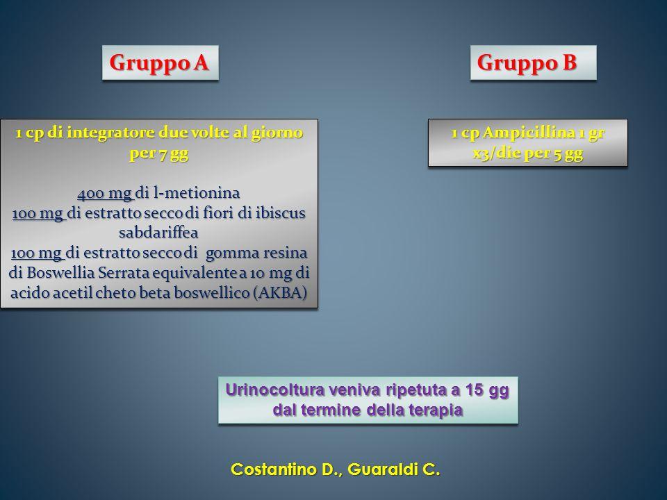 Gruppo A Gruppo B 1 cp di integratore due volte al giorno per 7 gg 400 mg di l-metionina 100 mg di estratto secco di fiori di ibiscus sabdariffea 100