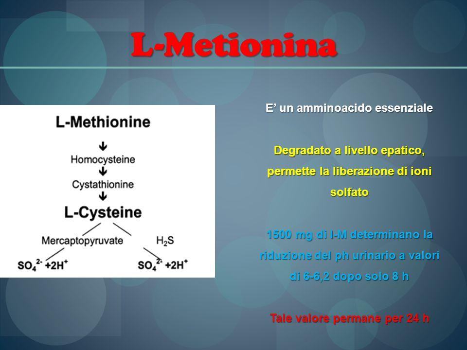 L-Metionina E un amminoacido essenziale Degradato a livello epatico, permette la liberazione di ioni solfato 1500 mg di l-M determinano la riduzione d