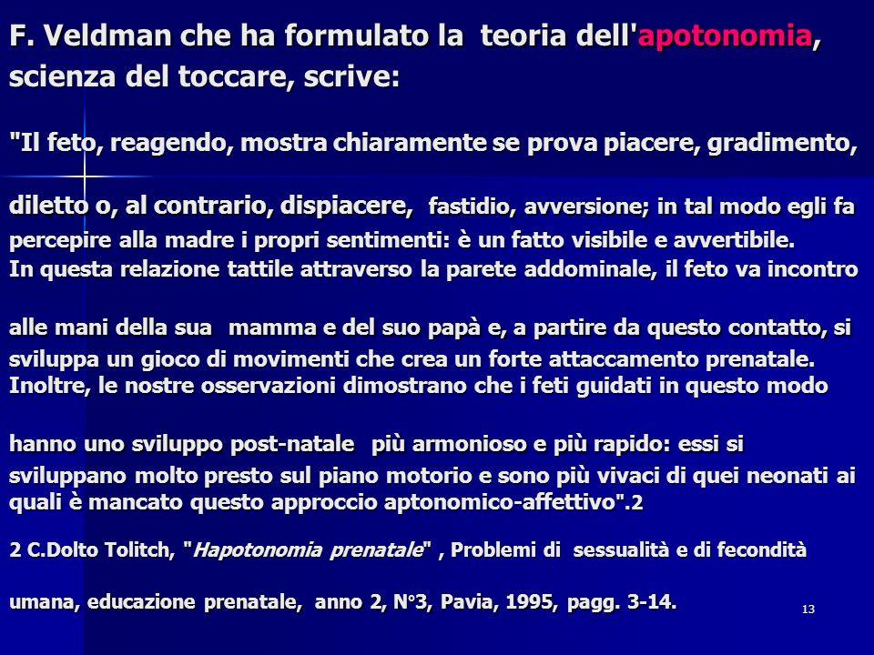 13 F. Veldman che ha formulato la teoria dell'apotonomia, scienza del toccare, scrive: