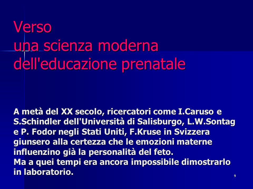 9 Verso una scienza moderna dell educazione prenatale A metà del XX secolo, ricercatori come I.Caruso e S.Schindler dell Università di Salisburgo, L.W.Sontag e P.