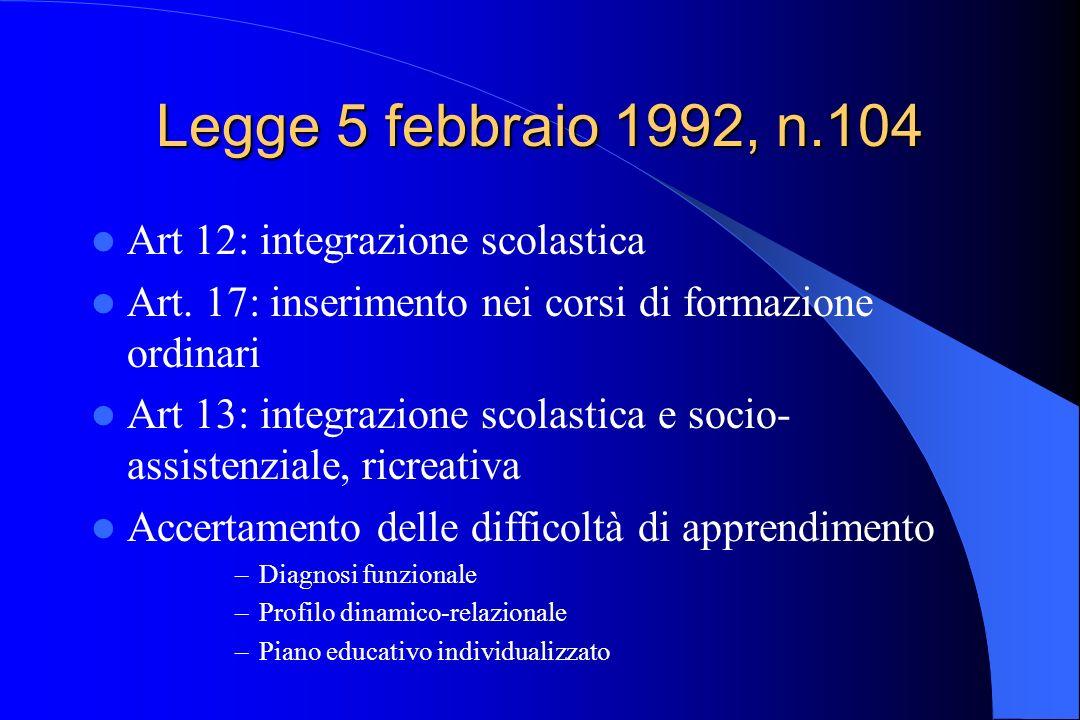 Legge 5 febbraio 1992, n.104 Art 12: integrazione scolastica Art. 17: inserimento nei corsi di formazione ordinari Art 13: integrazione scolastica e s