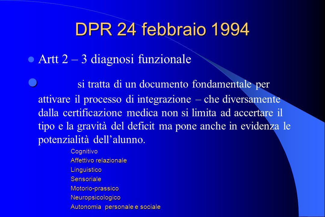 DPR 24 febbraio 1994 Artt 2 – 3 diagnosi funzionale si tratta di un documento fondamentale per attivare il processo di integrazione – che diversamente