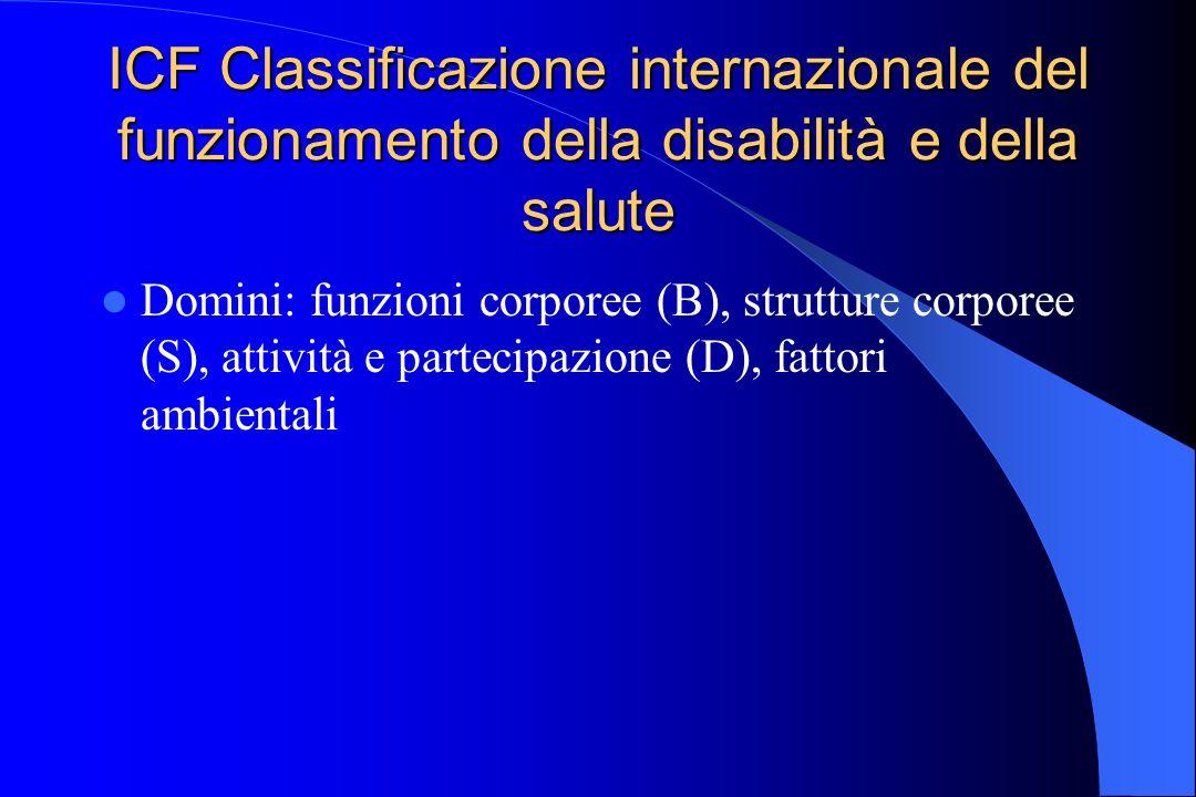 ICF Classificazione internazionale del funzionamento della disabilità e della salute Domini: funzioni corporee (B), strutture corporee (S), attività e