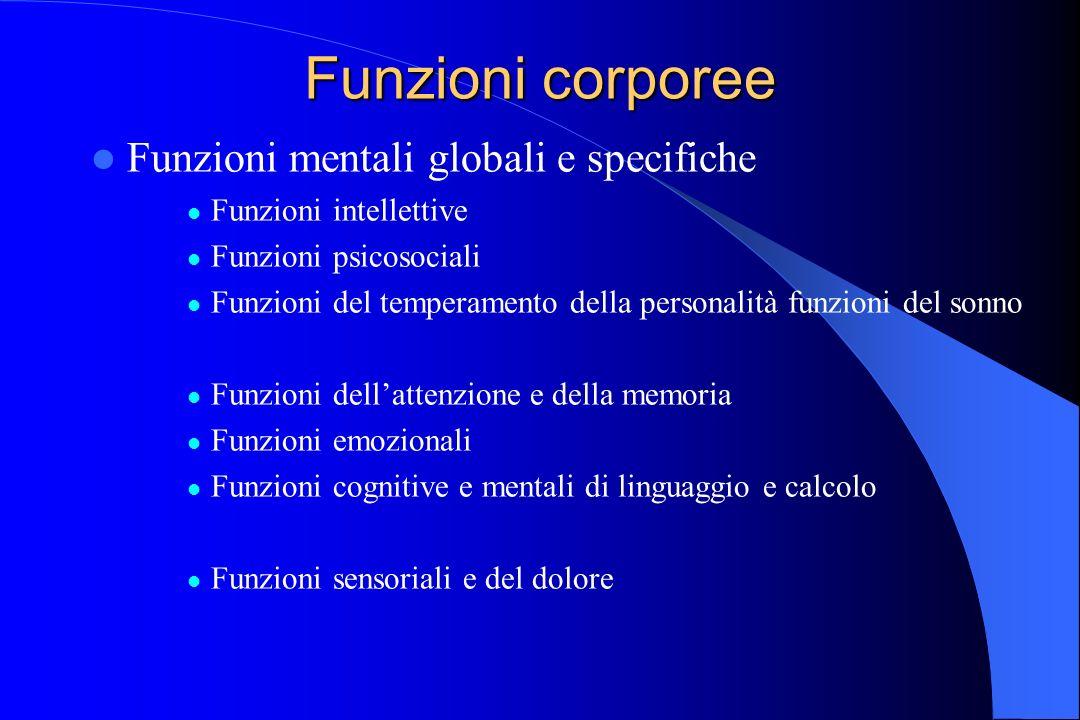 Funzioni corporee Funzioni mentali globali e specifiche Funzioni intellettive Funzioni psicosociali Funzioni del temperamento della personalità funzio