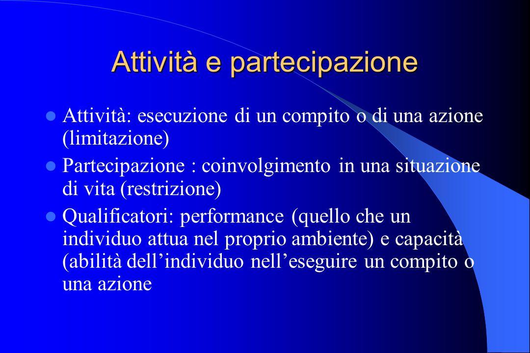 Attività e partecipazione Attività: esecuzione di un compito o di una azione (limitazione) Partecipazione : coinvolgimento in una situazione di vita (