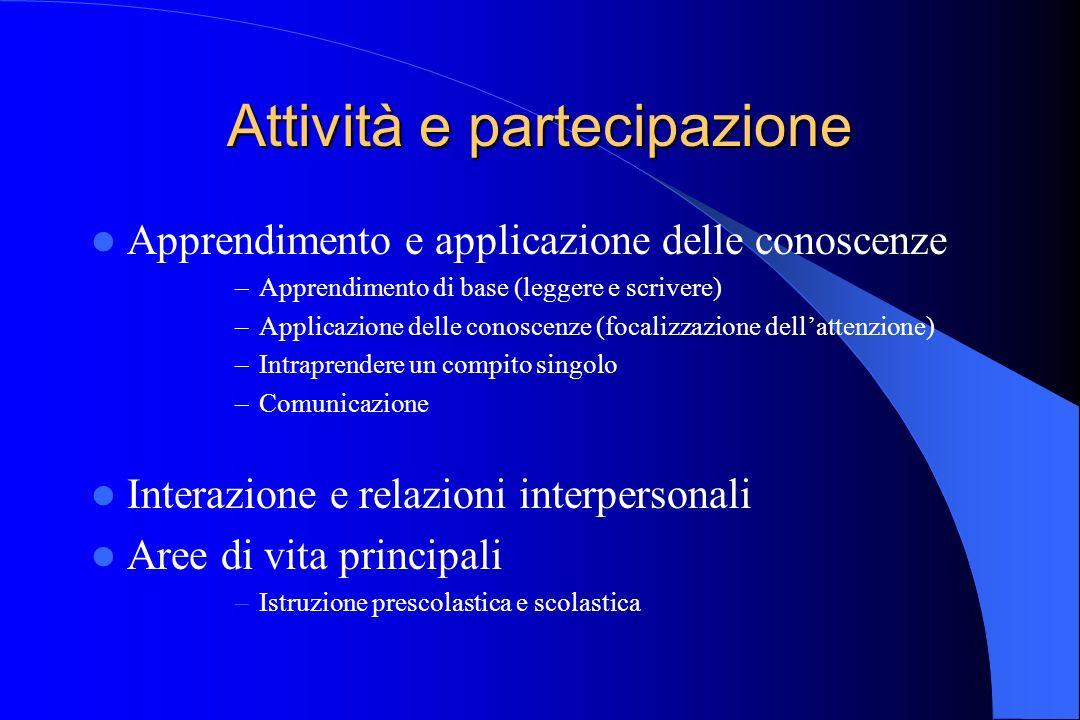 Attività e partecipazione Apprendimento e applicazione delle conoscenze –Apprendimento di base (leggere e scrivere) –Applicazione delle conoscenze (fo