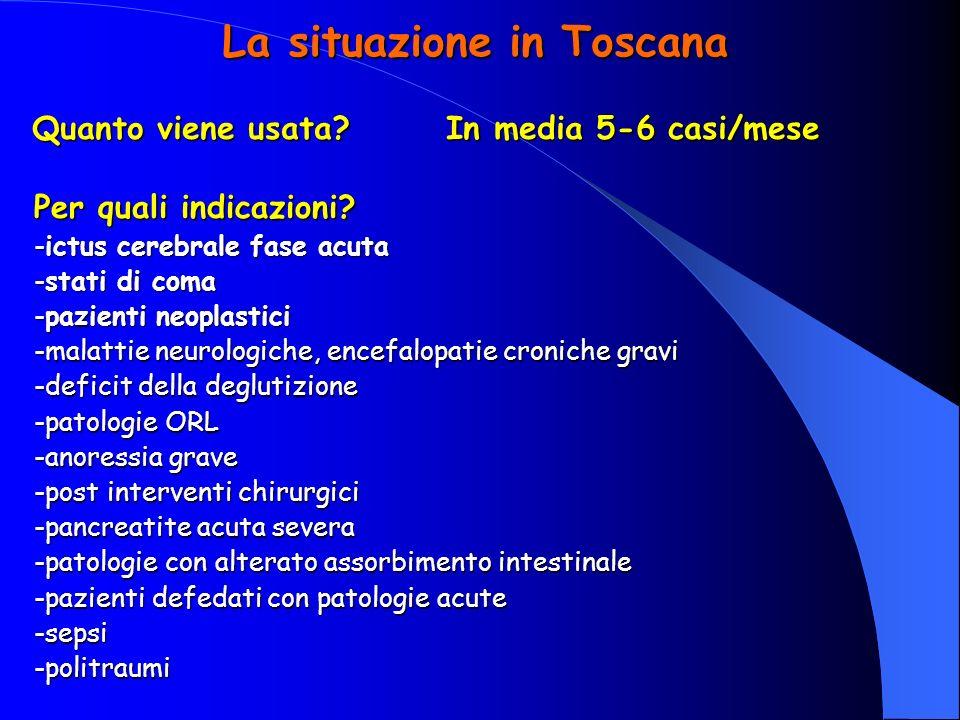 La situazione in Toscana Quanto viene usata? In media 5-6 casi/mese Per quali indicazioni? -ictus cerebrale fase acuta -stati di coma -pazienti neopla