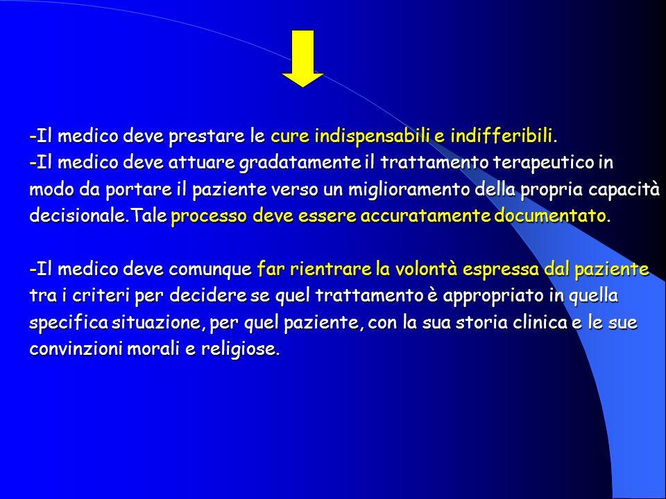 -Il medico deve prestare le cure indispensabili e indifferibili. -Il medico deve attuare gradatamente il trattamento terapeutico in modo da portare il