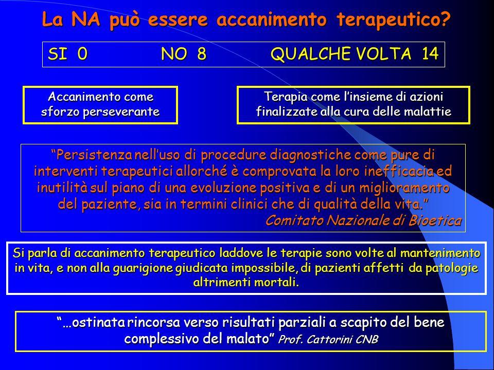 La NA può essere accanimento terapeutico.