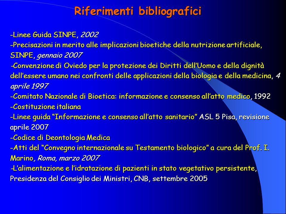 Riferimenti bibliografici -Linee Guida SINPE, 2002 -Precisazioni in merito alle implicazioni bioetiche della nutrizione artificiale, SINPE, gennaio 20