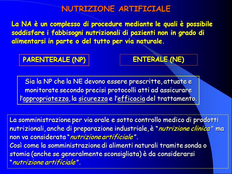 NUTRIZIONE ARTIFICIALE La NA è un complesso di procedure mediante le quali è possibile soddisfare i fabbisogni nutrizionali di pazienti non in grado di alimentarsi in parte o del tutto per via naturale.