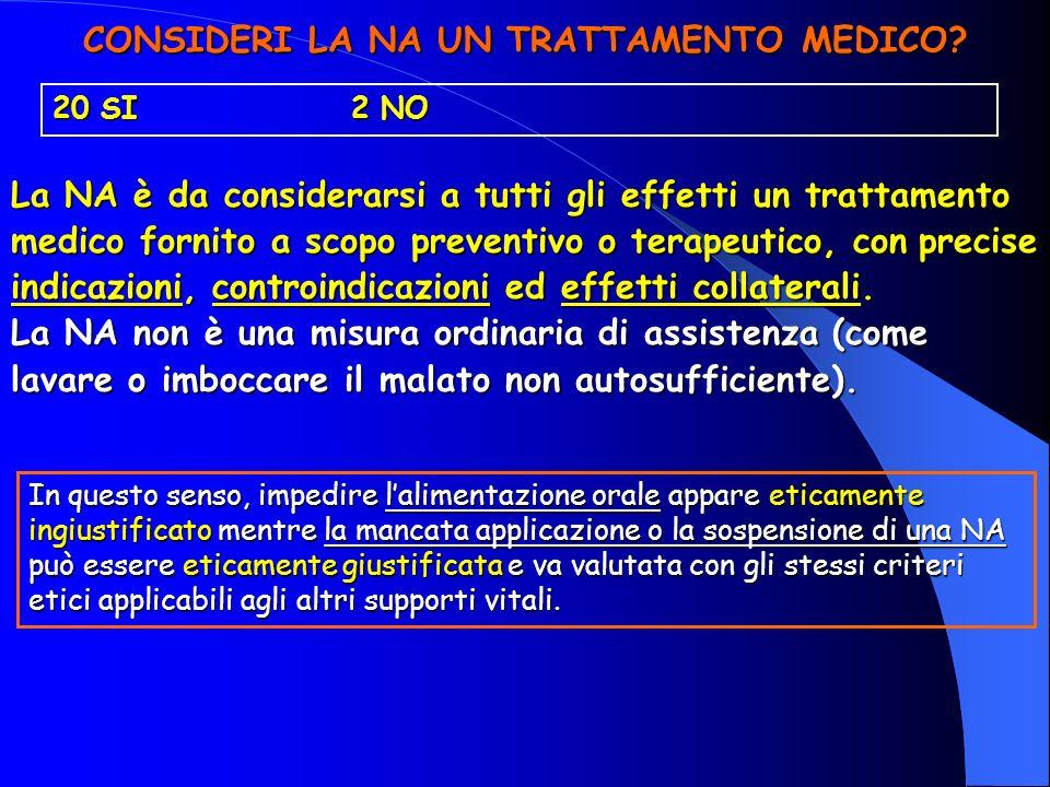 CONSIDERI LA NA UN TRATTAMENTO MEDICO? 20 SI 2 NO La NA è da considerarsi a tutti gli effetti un trattamento medico fornito a scopo preventivo o terap