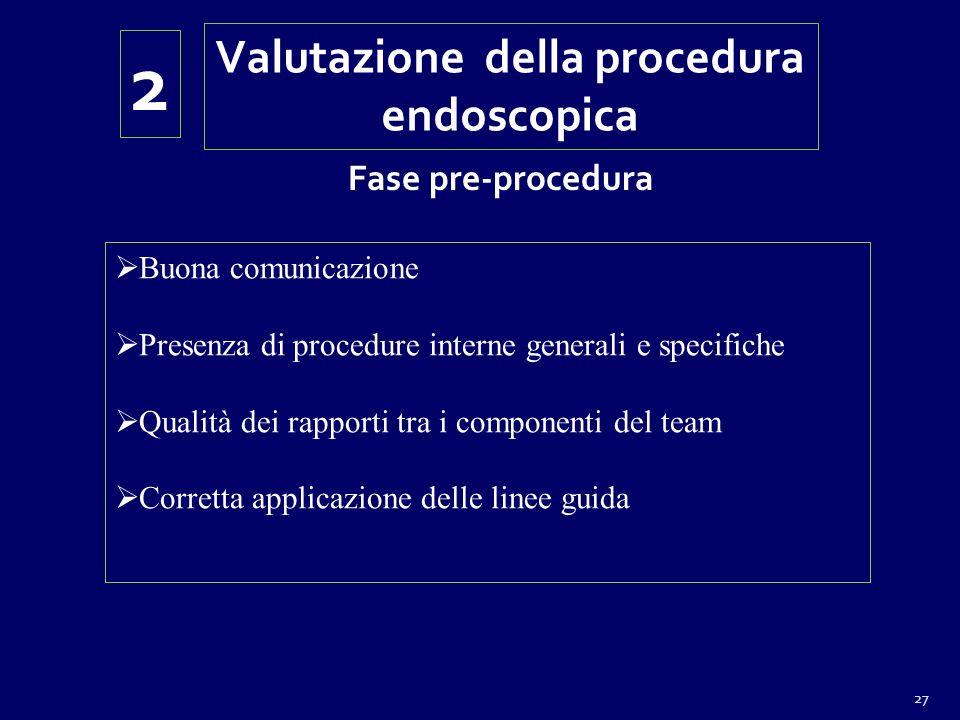 27 Buona comunicazione Presenza di procedure interne generali e specifiche Qualità dei rapporti tra i componenti del team Corretta applicazione delle linee guida Valutazione della procedura endoscopica 2 Fase pre-procedura