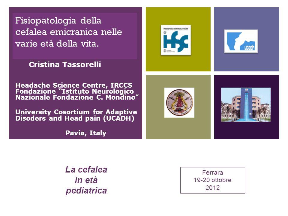 + Fisiopatologia della cefalea emicranica nelle varie età della vita. Headache Science Centre, IRCCS Fondazione Istituto Neurologico Nazionale Fondazi