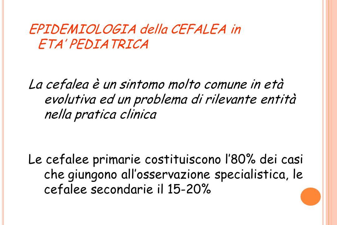 EPIDEMIOLOGIA della CEFALEA in ETA PEDIATRICA La cefalea è un sintomo molto comune in età evolutiva ed un problema di rilevante entità nella pratica c