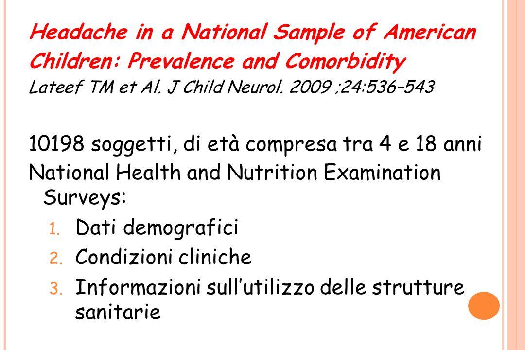Headache in a National Sample of American Children: Prevalence and Comorbidity Lateef TM et Al. J Child Neurol. 2009 ;24:536–543 10198 soggetti, di et