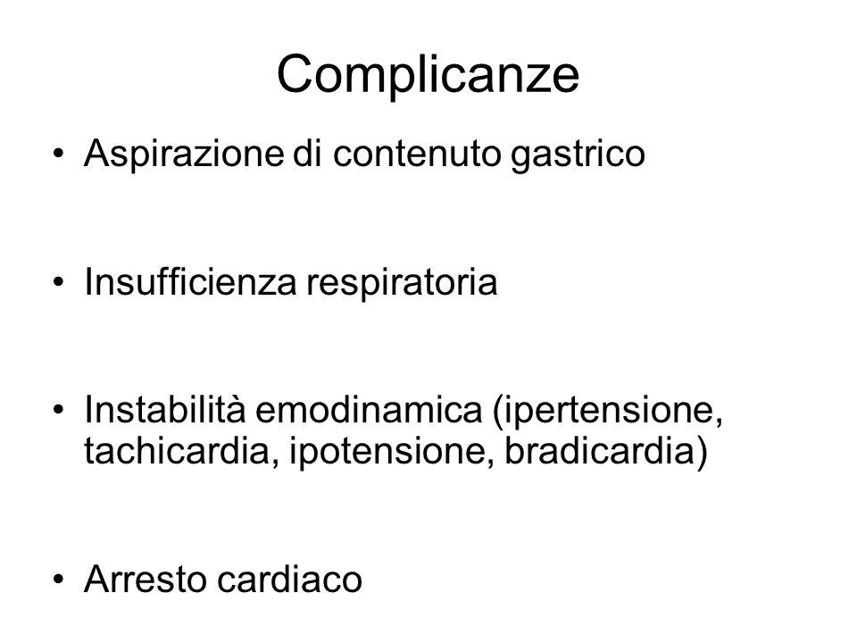 Complicanze Aspirazione di contenuto gastrico Insufficienza respiratoria Instabilità emodinamica (ipertensione, tachicardia, ipotensione, bradicardia)