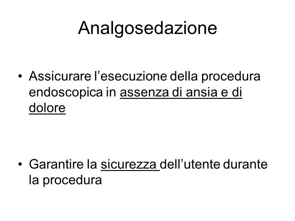 Analgosedazione Assicurare lesecuzione della procedura endoscopica in assenza di ansia e di dolore Garantire la sicurezza dellutente durante la proced