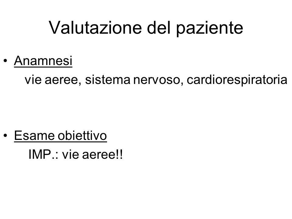 Valutazione del paziente Anamnesi vie aeree, sistema nervoso, cardiorespiratoria Esame obiettivo IMP.: vie aeree!!