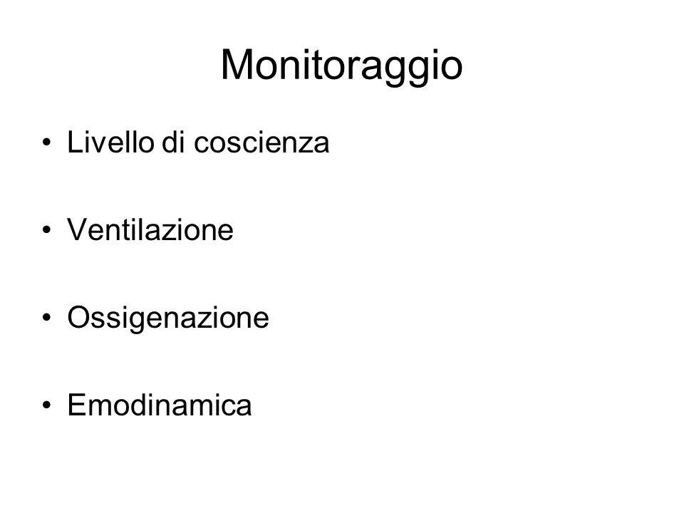 Equipaggiamento Monitor (freq resp, EtCO 2, SpO 2, ECG, NIBP) Accesso venoso (lacci, cateteri, siringhe) Basic airway (O 2, cannule nasali, Guedel, maschere facciali, Ambu, sistema aspirazione) Advanced airway (laringoscopi, tubi tracheali, maschere laringee) Farmaci di emergenza (adrenalina, atropina) Defibrillatore