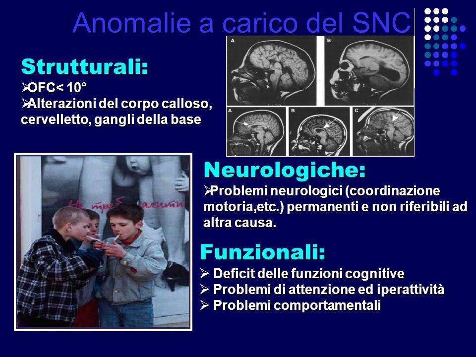 Anomalie a carico del SNC Strutturali: OFC< 10° OFC< 10° Alterazioni del corpo calloso, Alterazioni del corpo calloso, cervelletto, gangli della base