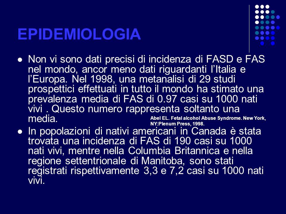EPIDEMIOLOGIA Non vi sono dati precisi di incidenza di FASD e FAS nel mondo, ancor meno dati riguardanti lItalia e lEuropa. Nel 1998, una metanalisi d