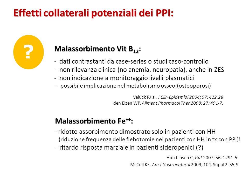 Effetti collaterali potenziali dei PPI: ? Malassorbimento Vit B 12 Malassorbimento Vit B 12 : - dati contrastanti da case-series o studi caso-controll