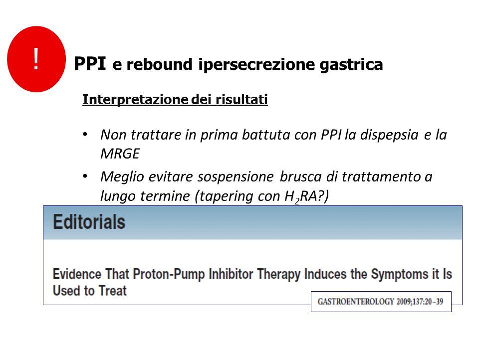Non trattare in prima battuta con PPI la dispepsia e la MRGE Meglio evitare sospensione brusca di trattamento a lungo termine (tapering con H 2 RA?) S