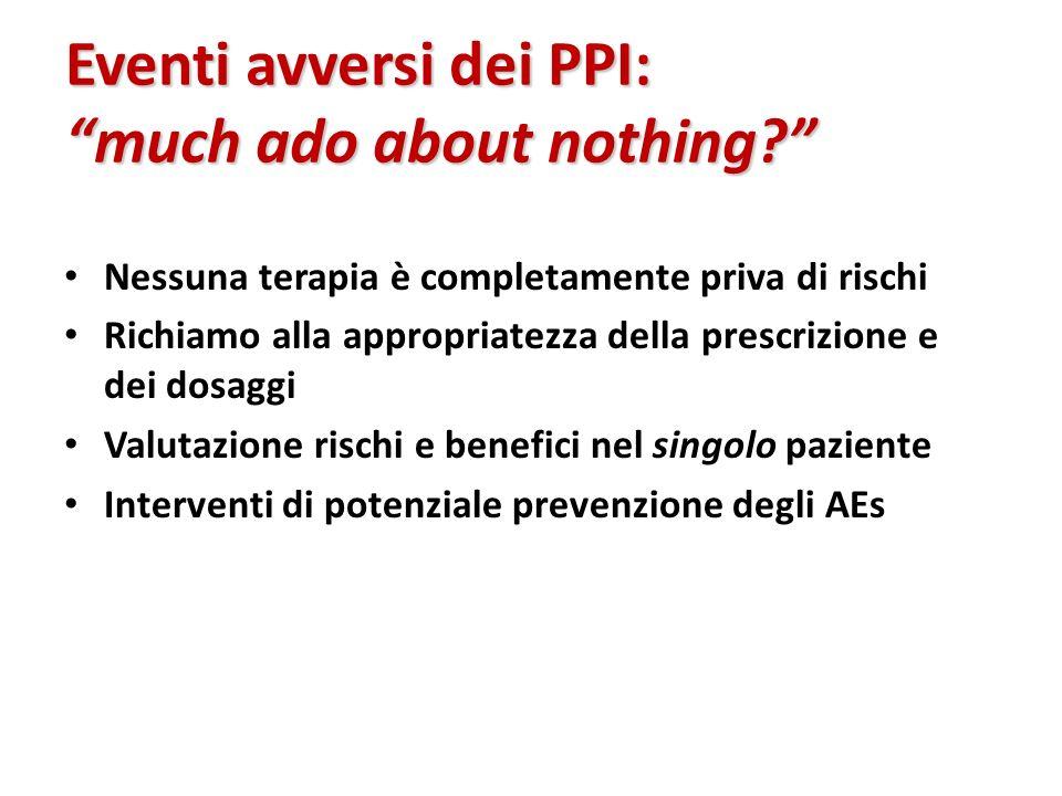Eventi avversi dei PPI: much ado about nothing? Nessuna terapia è completamente priva di rischi Richiamo alla appropriatezza della prescrizione e dei