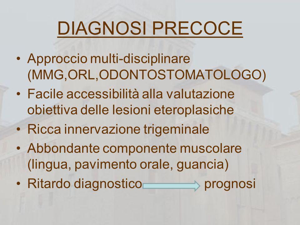 DIAGNOSI PRECOCE Approccio multi-disciplinare (MMG,ORL,ODONTOSTOMATOLOGO) Facile accessibilità alla valutazione obiettiva delle lesioni eteroplasiche