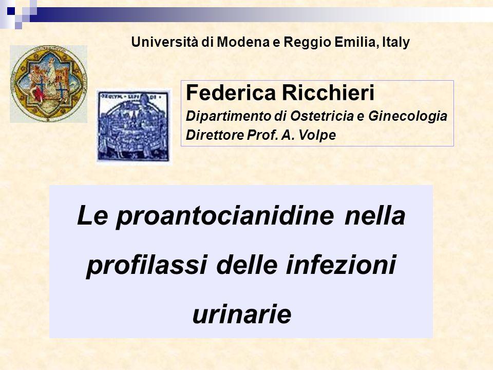 Università di Modena e Reggio Emilia, Italy Le proantocianidine nella profilassi delle infezioni urinarie Federica Ricchieri Dipartimento di Ostetrici