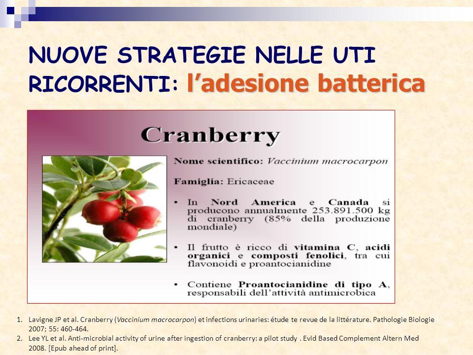 ladesione batterica NUOVE STRATEGIE NELLE UTI RICORRENTI: ladesione batterica 1.Lavigne JP et al. Cranberry (Vaccinium macrocarpon) et infections urin