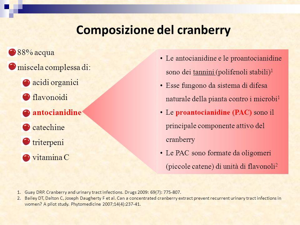 Composizione del cranberry 88% acqua miscela complessa di: acidi organici flavonoidi antocianidine catechine triterpeni vitamina C Le antocianidine e