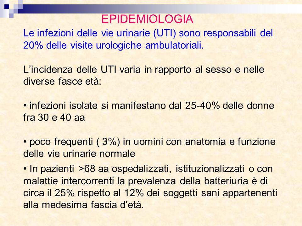 Le infezioni delle vie urinarie (UTI) sono responsabili del 20% delle visite urologiche ambulatoriali. Lincidenza delle UTI varia in rapporto al sesso
