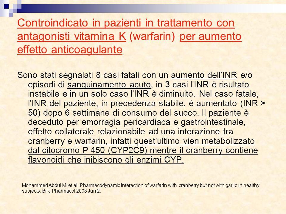 Controindicato in pazienti in trattamento con antagonisti vitamina K (warfarin) per aumento effetto anticoagulante Sono stati segnalati 8 casi fatali
