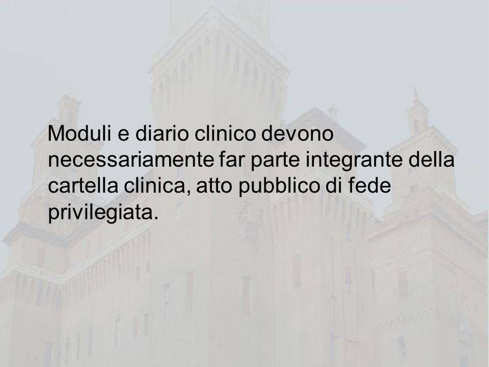 Moduli e diario clinico devono necessariamente far parte integrante della cartella clinica, atto pubblico di fede privilegiata.