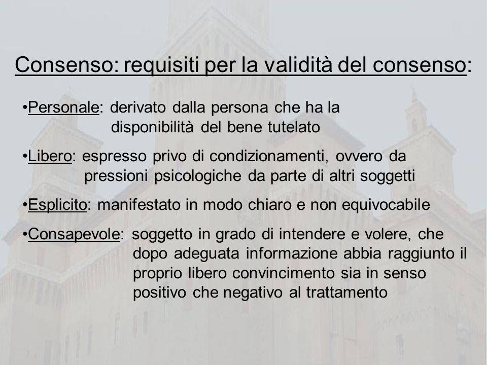 Consenso: requisiti per la validità del consenso: Personale: derivato dalla persona che ha la disponibilità del bene tutelato Libero: espresso privo d