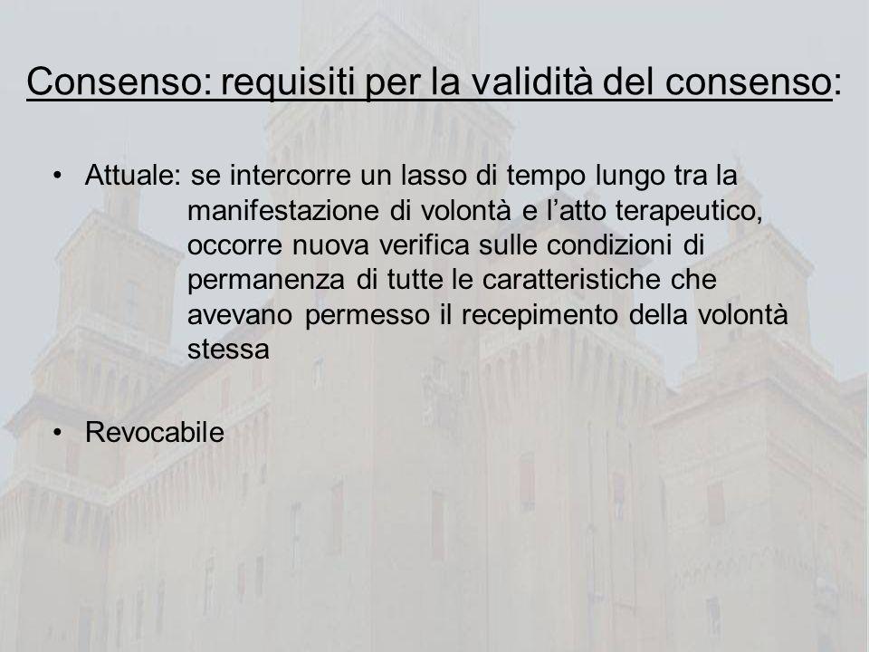 Consenso: requisiti per la validità del consenso: Attuale: se intercorre un lasso di tempo lungo tra la manifestazione di volontà e latto terapeutico,