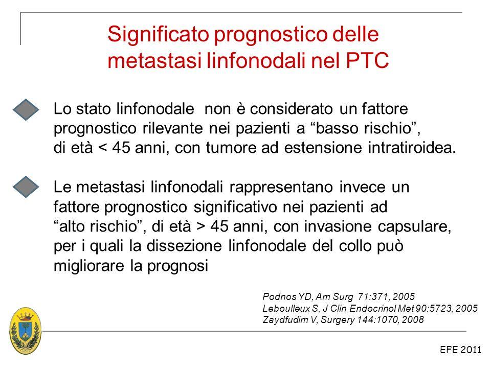 EFE 2011 Significato prognostico delle metastasi linfonodali nel PTC Lo stato linfonodale non è considerato un fattore prognostico rilevante nei pazie