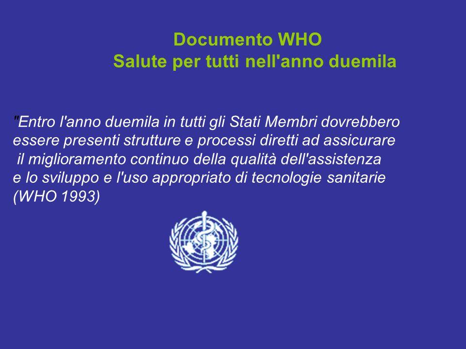 Documento WHO Salute per tutti nell anno duemila Entro l anno duemila in tutti gli Stati Membri dovrebbero essere presenti strutture e processi diretti ad assicurare il miglioramento continuo della qualità dell assistenza e lo sviluppo e l uso appropriato di tecnologie sanitarie (WHO 1993)