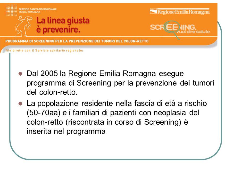 Dal 2005 la Regione Emilia-Romagna esegue programma di Screening per la prevenzione dei tumori del colon-retto.