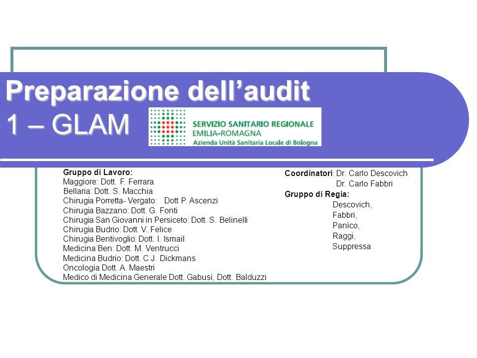 Preparazione dellaudit 1 – GLAM Coordinatori : Dr.
