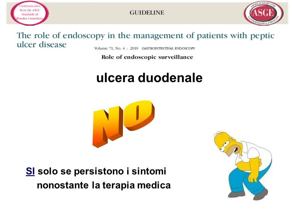 SI solo se persistono i sintomi nonostante la terapia medica ulcera duodenale