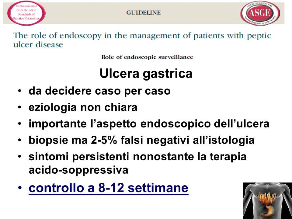 Ulcera gastrica da decidere caso per caso eziologia non chiara importante laspetto endoscopico dellulcera biopsie ma 2-5% falsi negativi allistologia sintomi persistenti nonostante la terapia acido-soppressiva controllo a 8-12 settimane