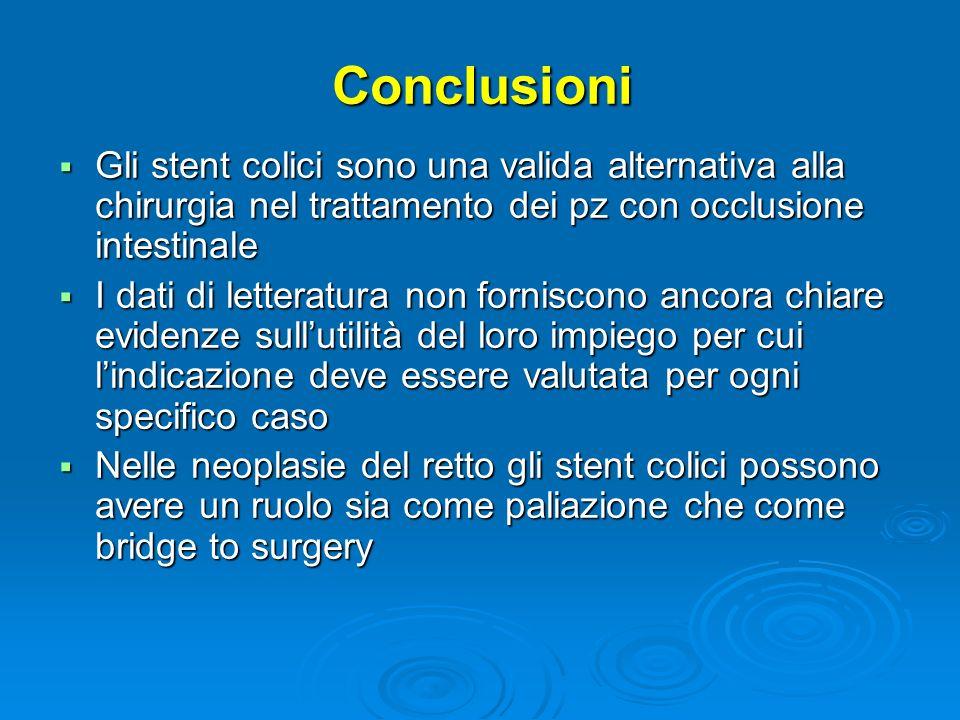 Conclusioni Gli stent colici sono una valida alternativa alla chirurgia nel trattamento dei pz con occlusione intestinale Gli stent colici sono una va