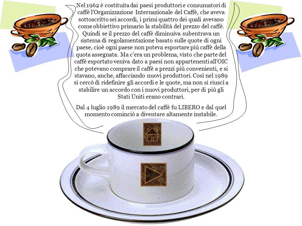Nel 1962 è costituita dai paesi produttori e consumatori di caffè lOrganizzazione Internazionale del Caffè, che aveva sottoscritto sei accordi, i prim