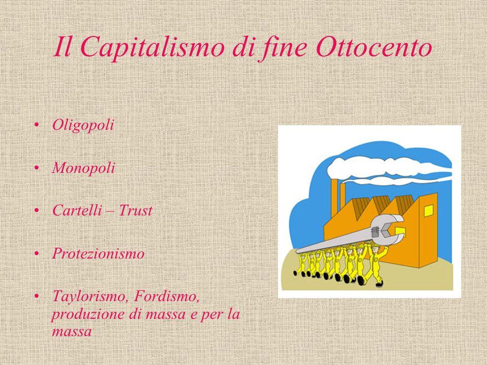 Il Capitalismo di fine Ottocento Oligopoli Monopoli Cartelli – Trust Protezionismo Taylorismo, Fordismo, produzione di massa e per la massa