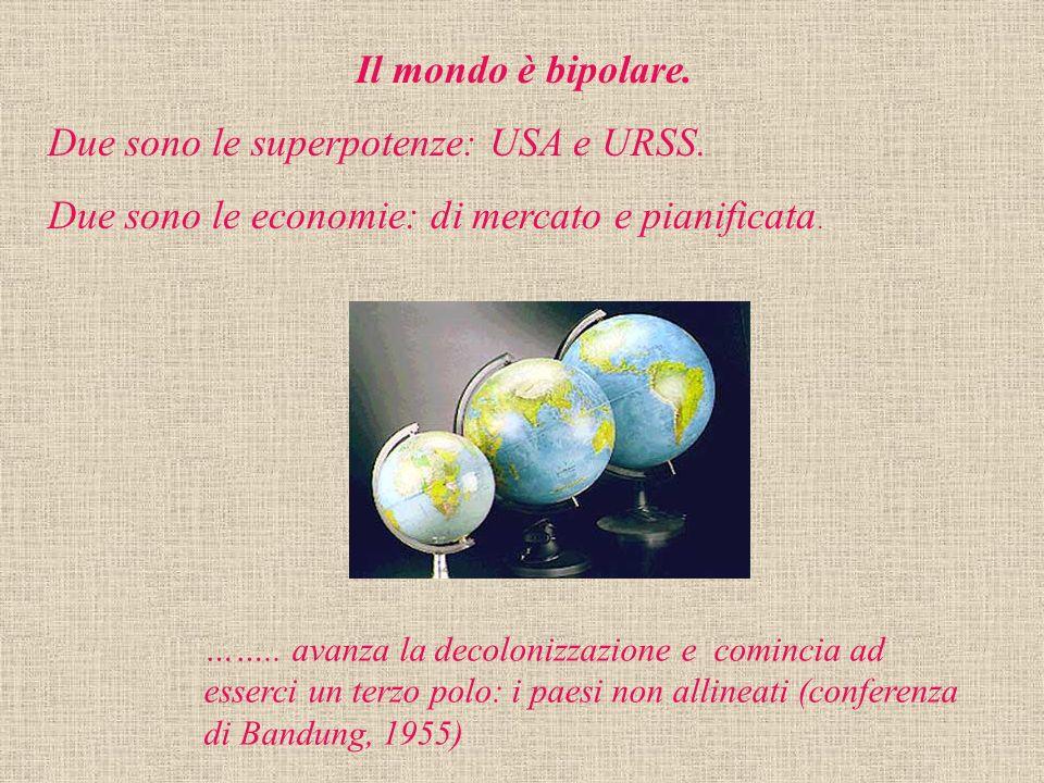 Il mondo è bipolare. Due sono le superpotenze: USA e URSS. Due sono le economie: di mercato e pianificata. …….. avanza la decolonizzazione e comincia
